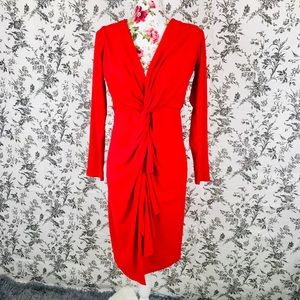 Boohoo 12 vivid red stretchy formal dress